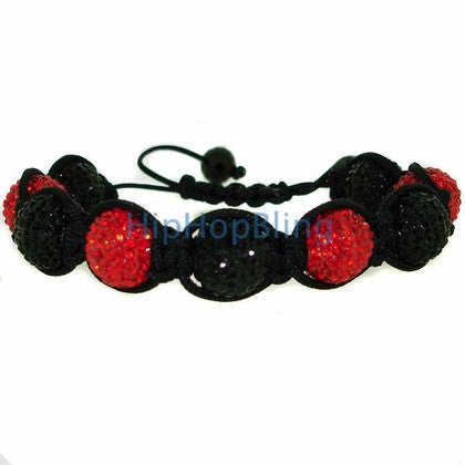 Red & Black 14mm 9 Disco Ball Bling Bracelet