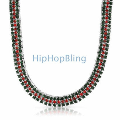 Red & Green Italy 3 Row Bling Bling Chain