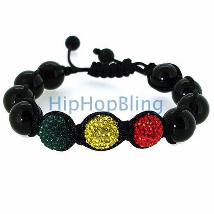 Reggae Green Yellow Red Bling Bling Beaded Bracelet