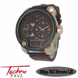 Rose All Brown Leather Dual Time Zone Watch