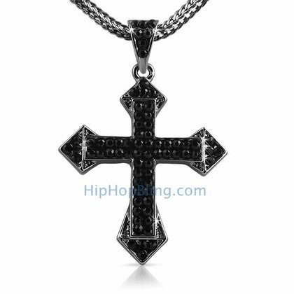 Sharp Black Bling Bling Cross & Chain Small