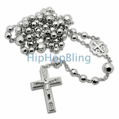 Silver Crystal Beaded Rosary Necklace