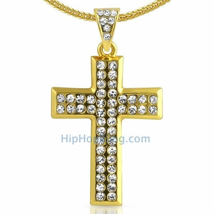 Skinny Gold Cross Bling Bling Chain Small