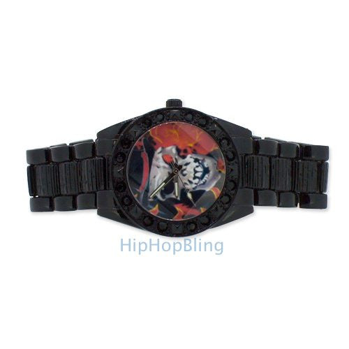 Skull Face Black Hip Hop Watch