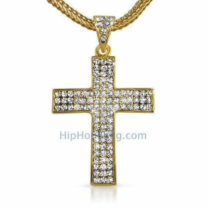 Small Gold Bling Bling Cross & Chain