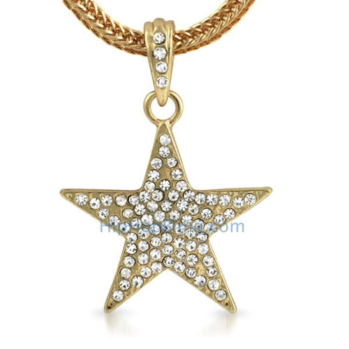 Small Gold Lone Star Pendant & Chain Bling