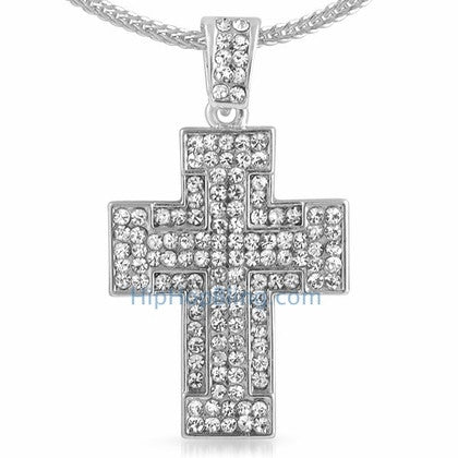 Thick Bling Bling Cross & Chain Small