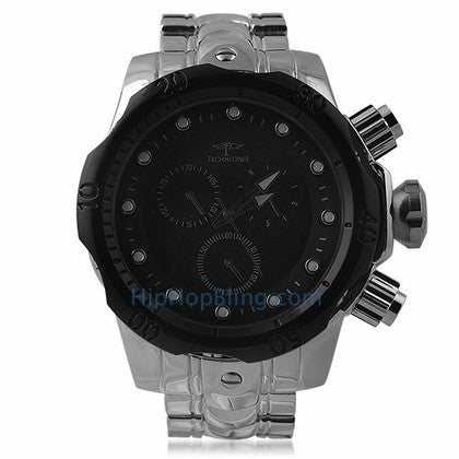 Thick Divers Watch Black Dial & Bezel Silver Band