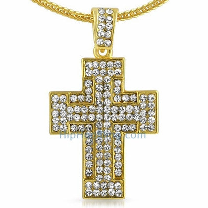 Thick Gold Bling Bling Cross & Chain Small