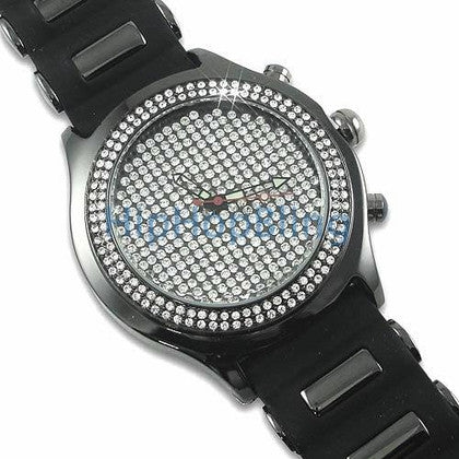 Totally Bling Pave Dial Black Jelly Watch