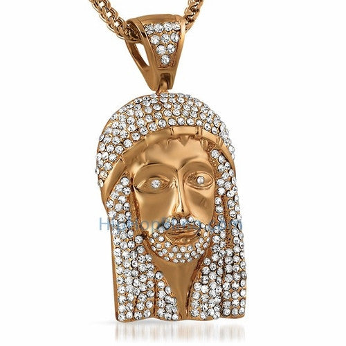Totally Bling Rose Jesus Piece Pendant