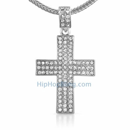 Triple Bling Cross & Chain Small