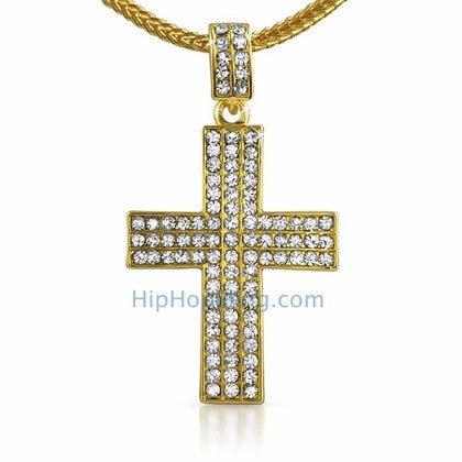 Triple Bling Gold Cross & Chain Small
