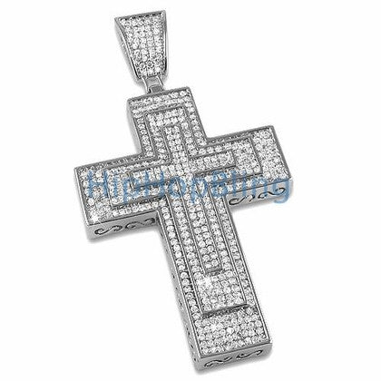 Triple Decker Bling Bling Cross Micro Pave CZ Setting