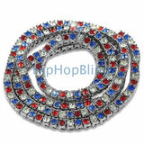 USA Pride Red White & Blue Alternating Bling Bling Chain