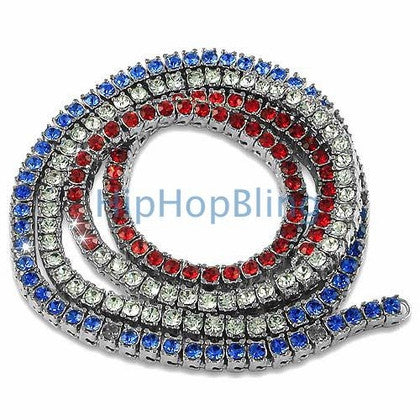USA Red White & Blue Bling Bling Chain