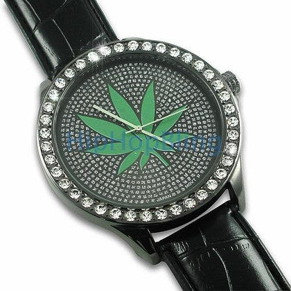 Weed Leaf Black Case Leather Bling Watch