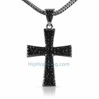 Wing Black Cross & Chain Small