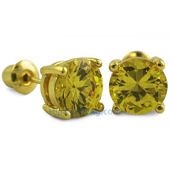 Yellow CZ Diamond Round Stud Earrings Gold