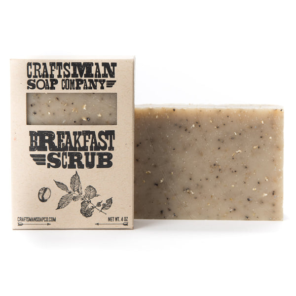 Breakfast Scrub is an exfoliating vegan bar soap made by hand with oatmeal, coffee grounds, and natural oils and butters.