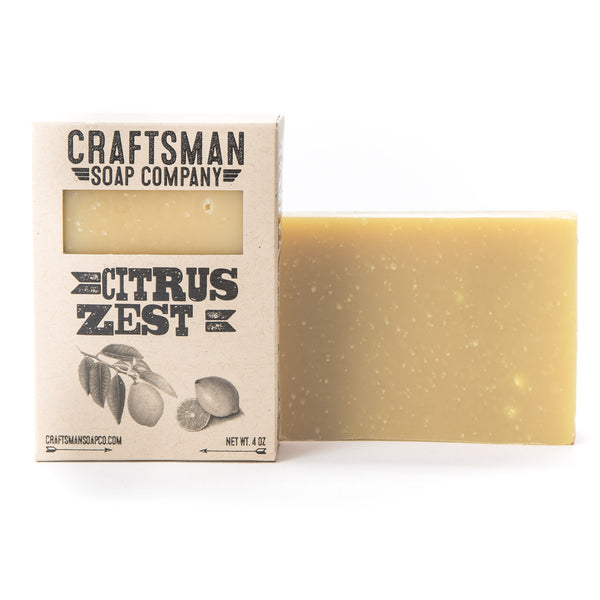 Citrus zest is a vegan bar soap that blends lemon, grapefruit, and lemongrass essential oils for a bright springtime scent.