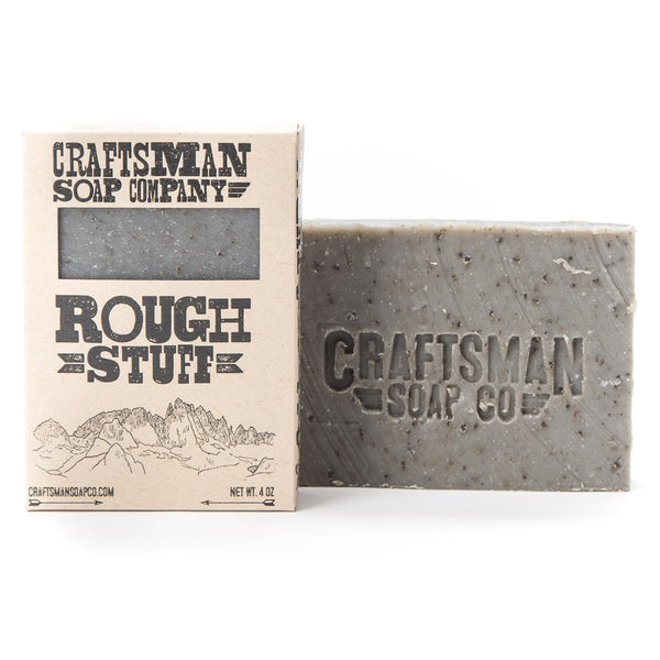 Rough Stuff is a vegan bar soap scrub with exfoliating ground pumice, coffee grounds, walnut shells, and fullers earth clay.