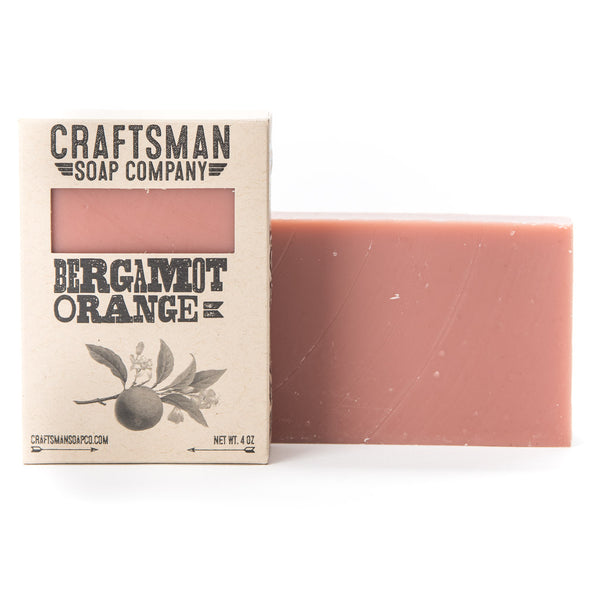 Bergamot Orange is a citrusy vegan bar soap handmade in the USA with citrus essential oils plus shea and cocoa butter.