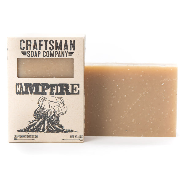 Campfire is a vegan bar soap with shea and cocoa butter, plus smoky birch tar and cedar essential oils; woodsy forest scent.