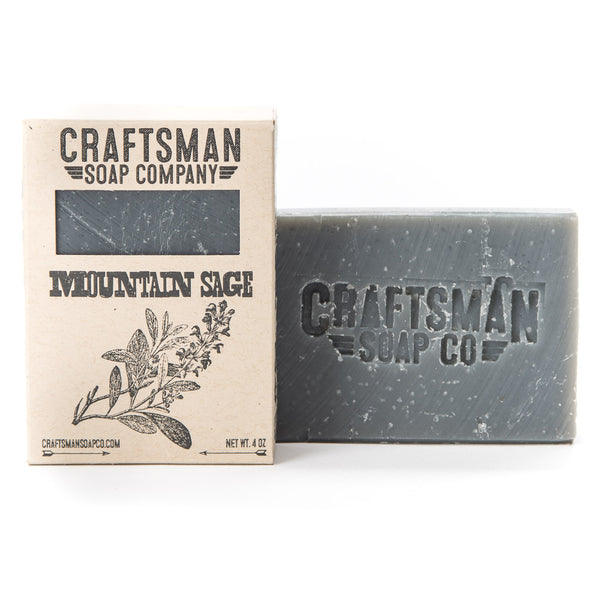Mountain Sage is a woodsy vegan bar soap with sage, rosemary, orange, and eucalyptus essential oils for a manly forest scent.