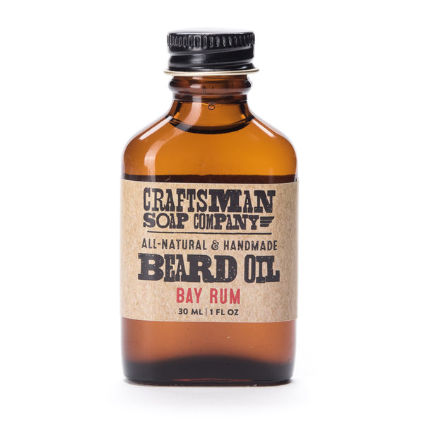 Bay Rum beard oil has an exotic essential oil fragrance with notes of allspice and lime peel. All natural, made in USA.