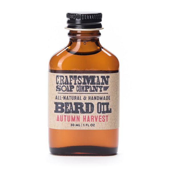 Autumn Harvest beard oil has a herbal scent from essential oils like sage, rosemary, and hints of spice like coriander.