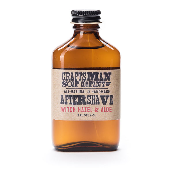 Witch Hazel & Aloe aftershave is an unscented traditional alcohol aftershave that is fragrance free, by Craftsman Soap Co.