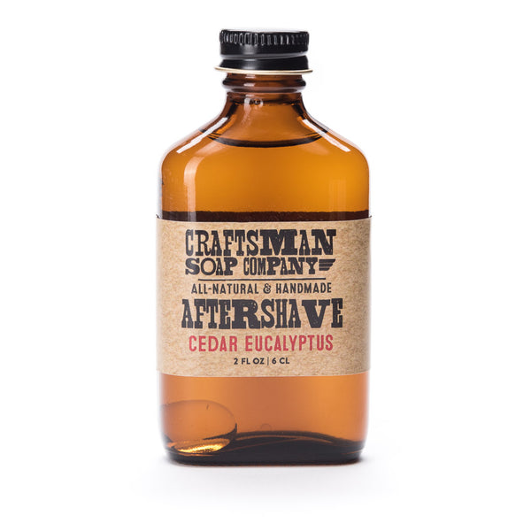 Cedar Eucalyptus aftershave made with natural essential oils and perfumers alcohol, witch hazel & aloe base.