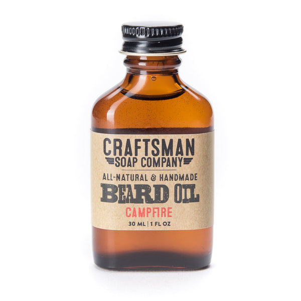 Campfire beard oil has a manly smoky essential oil scent from birch tar and cedar essential oils, and is handmade in USA.