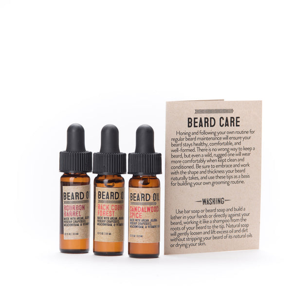Beard Oil Sampler Set, Handmade with Natural Oils