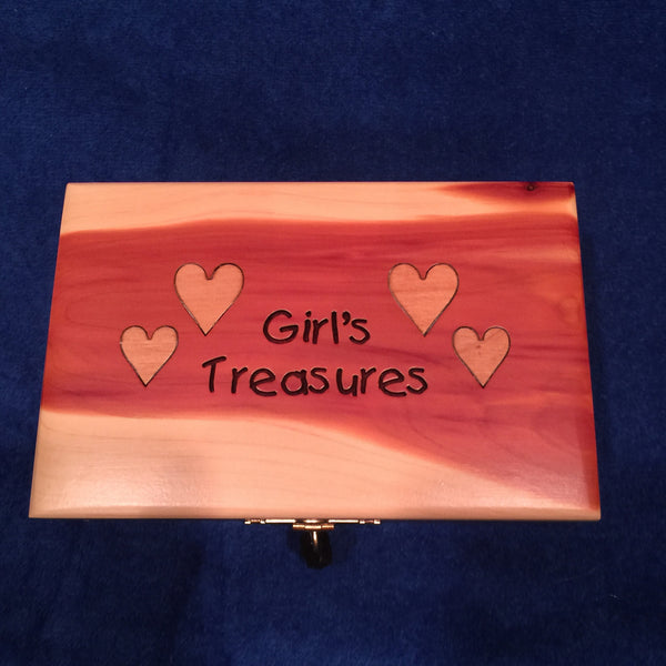 Girls Wooden Treasure Box with Lock