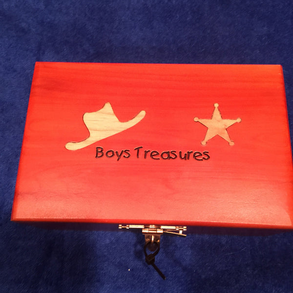 Boys Wooden Treasure Box with Lock