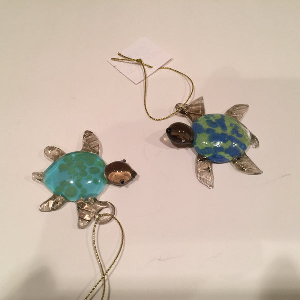 Glass Sea Turtle Christmas Ornaments