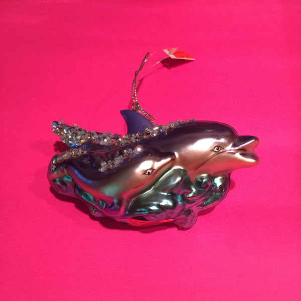 Glass Dolphin w/baby Christmas Ornament