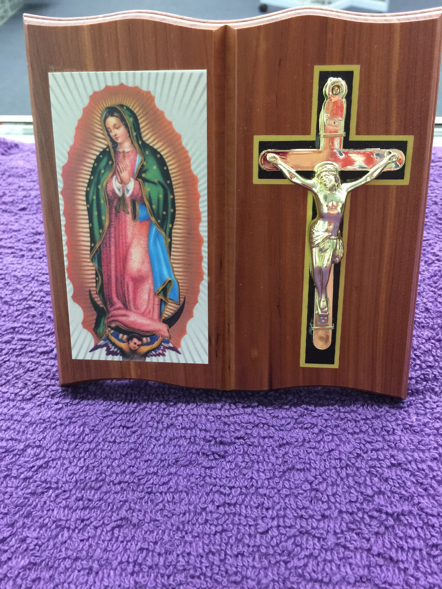 Wooden Mother Mary with Cross