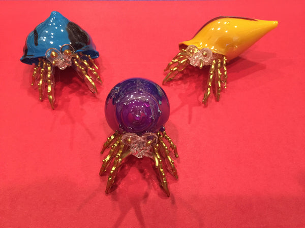 Glass Hermit Crab Figurines