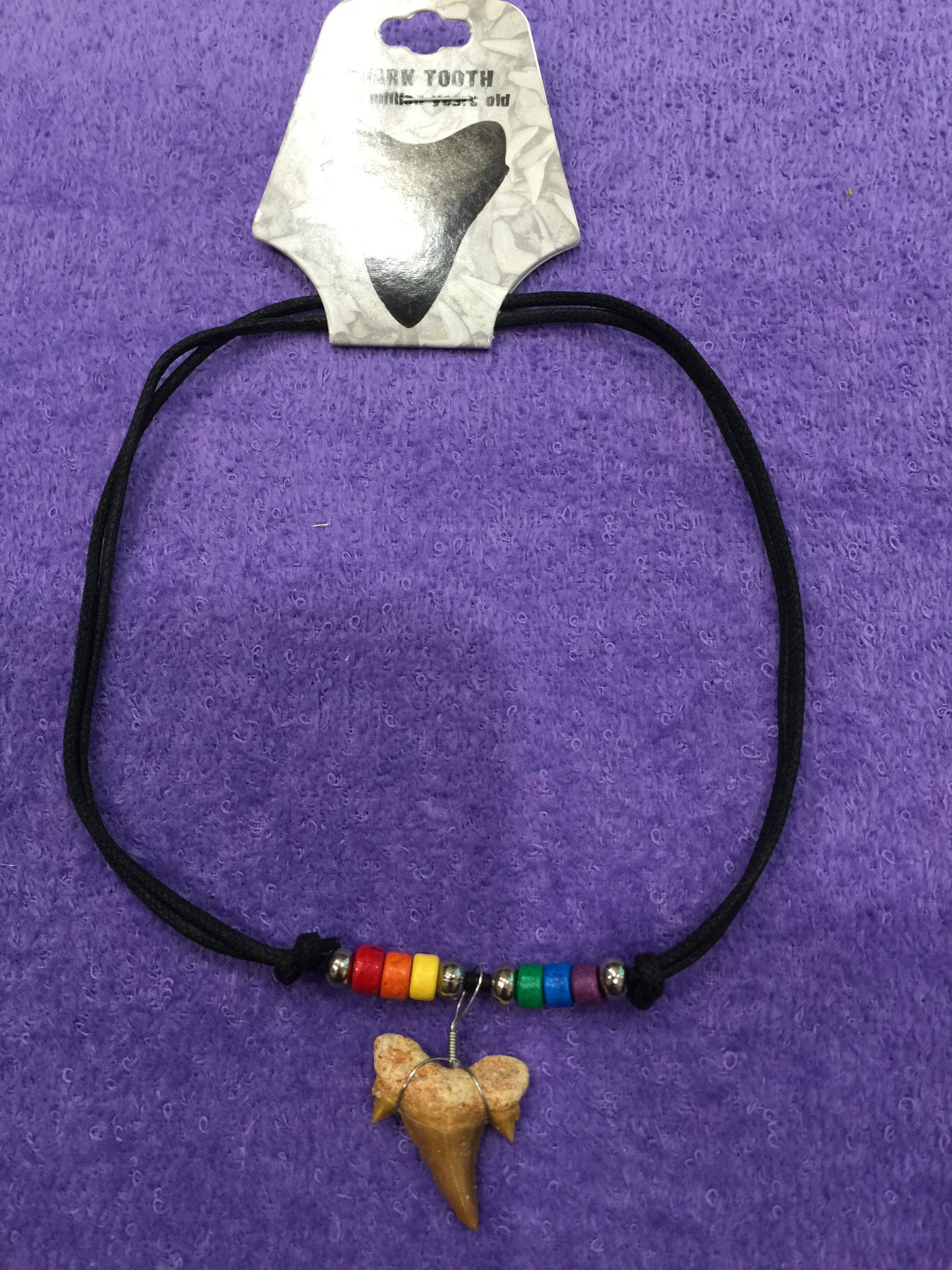 Adjustable Shark Tooth Necklace w/Rainbow Beads
