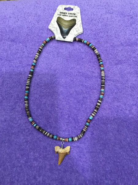 Aqua/Brown Puka Bead Necklace w/Shark Tooth