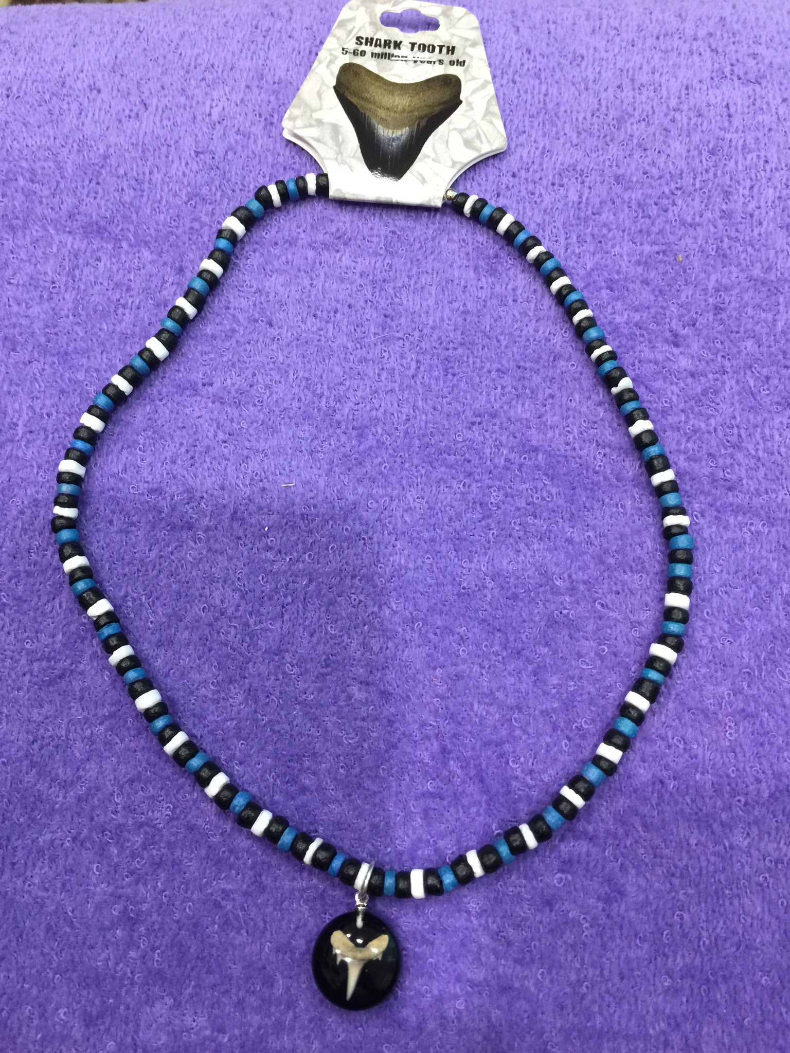 Black/Blue Puka Bead Necklace w/Shark Tooth Pendant