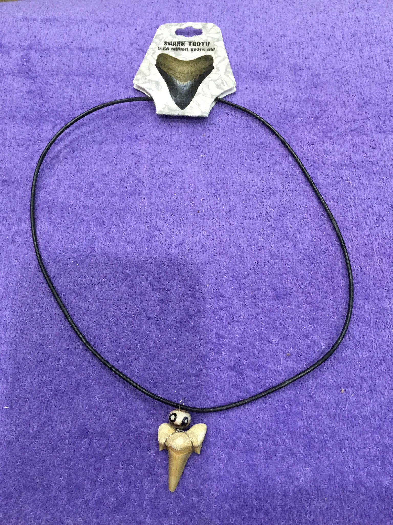 Shark Tooth Necklace w/animal print bead