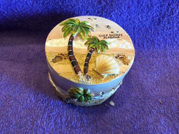 Round Jeweled Palm Tree Trinket Box