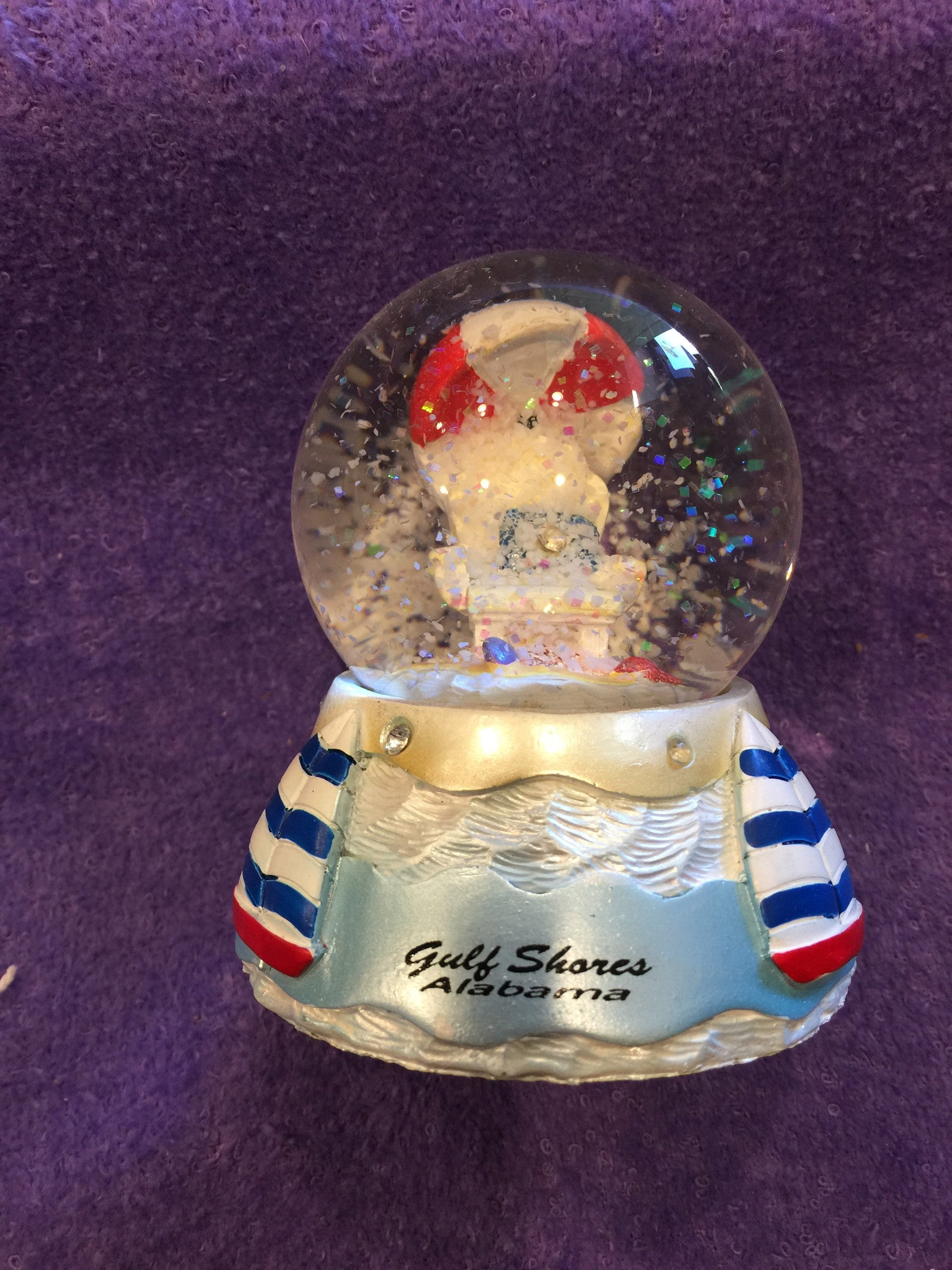 Jeweled Beach Chair & Sailboats Snowglobe