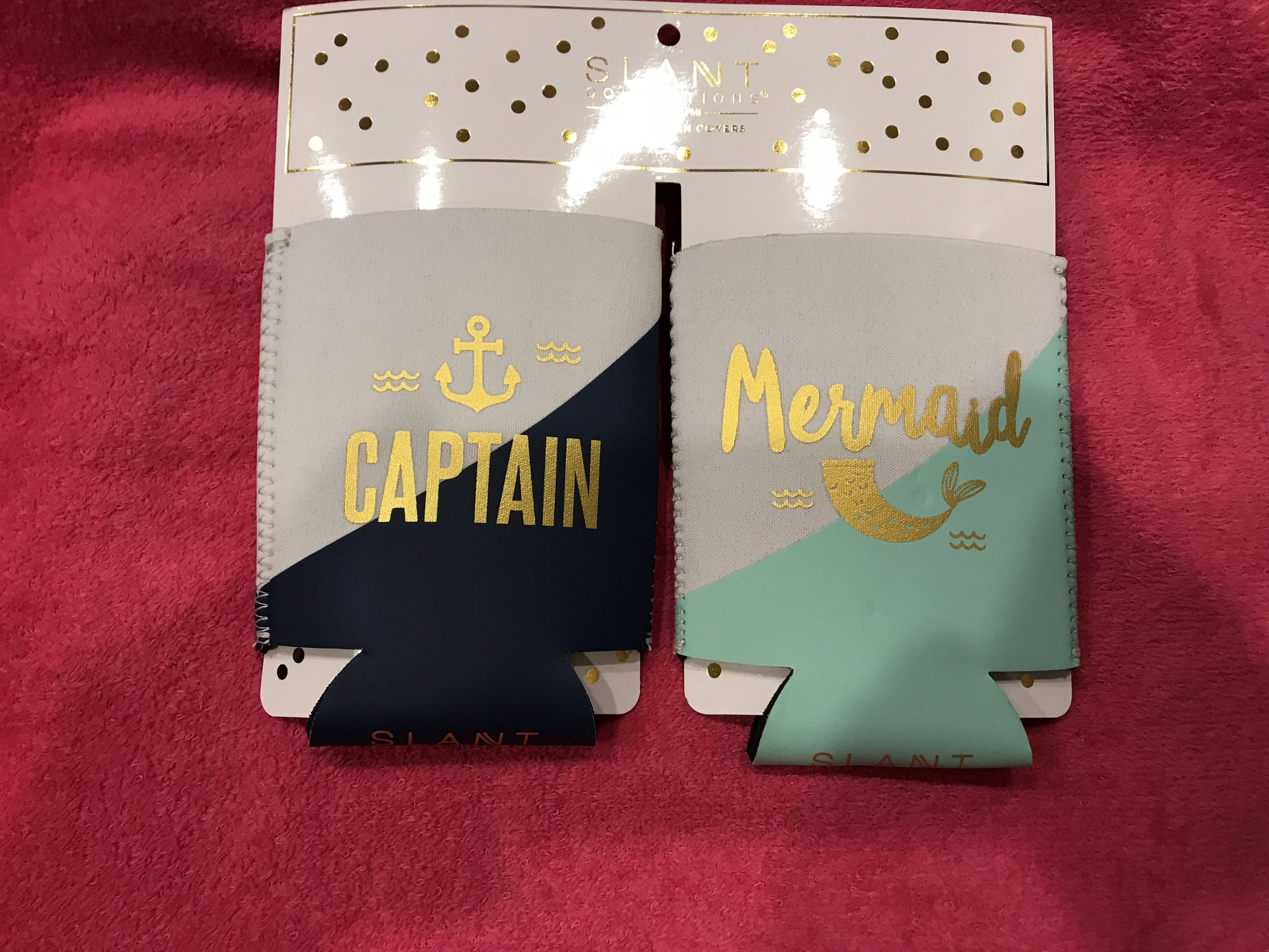 Captain & Mermaid Can Koozie Set