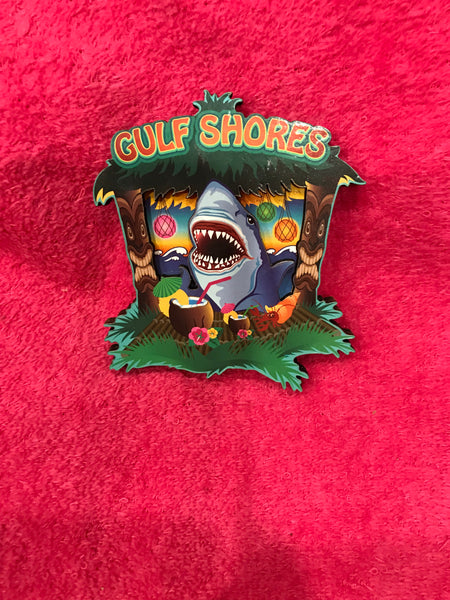 Shark in Tiki Hut Magnet