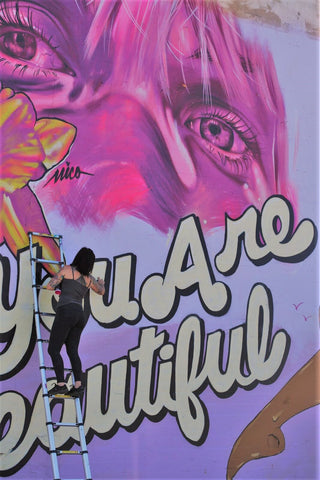 you are beautiful female graffiti woman street art skateboarder mural artist